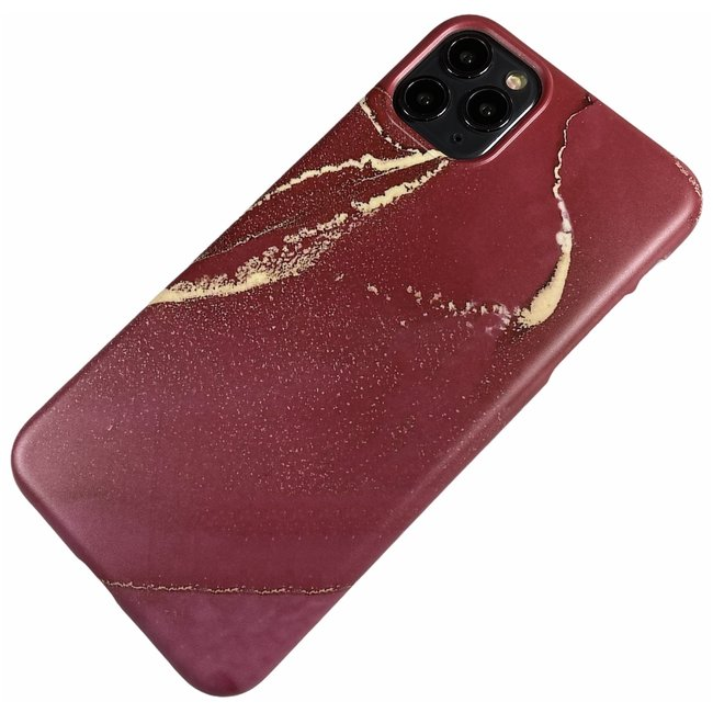 Apple iPhone 11 Pro Max - Silikon Marmor weich Hülle Chloe rot