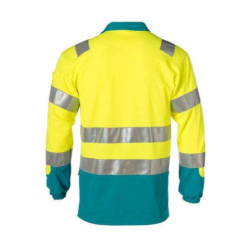 Rescuewear Poloshirt lange mouw enamel/fluorgeel