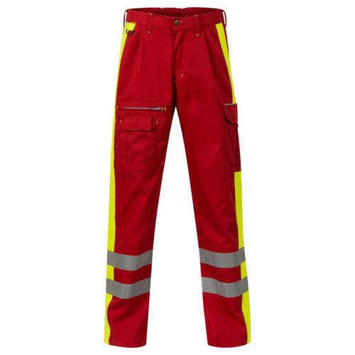 Rescuewear Unisex Broek Dynamic rood/fluorgeel