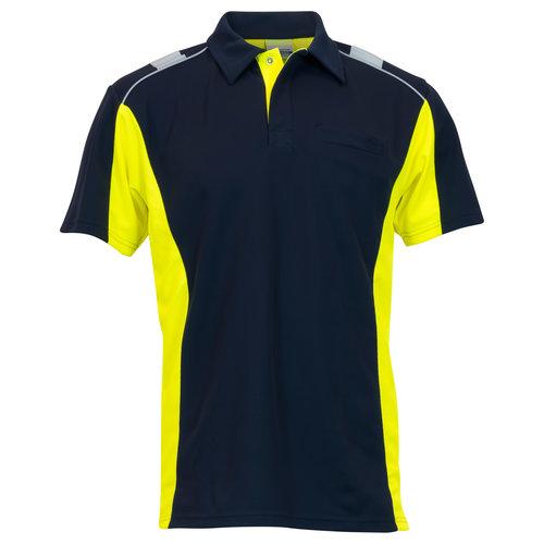 Rescuewear Poloshirt Dynamic korte mouw Marineblauw/neongeel