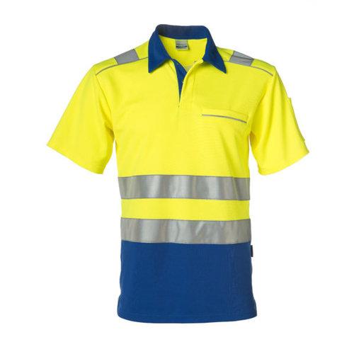 Rescuewear Poloshirt korte mouw, Kobaltblauw/Neongeel, HiVis, klasse 2