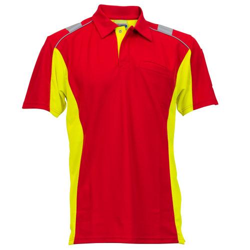 Rescuewear Poloshirt Dynamic korte mouw rood/fluorgeel