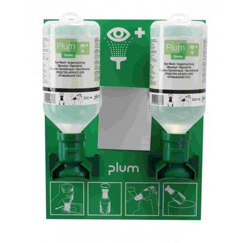 Plum oogspoel wandstation met 2 flessen 500 ml sodium chloride