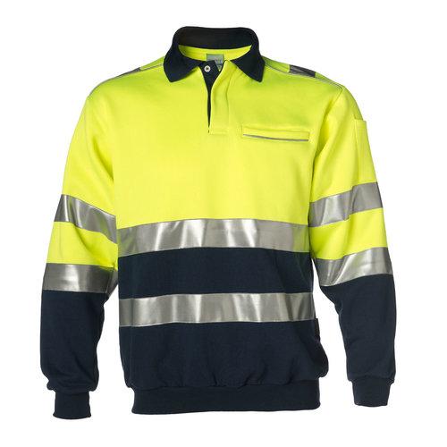 Rescuewear Polosweater Marineblauw/ Fluorgeel