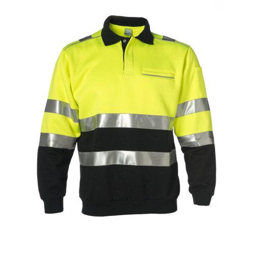 Rescuewear Polosweater Zwart / Fluorgeel