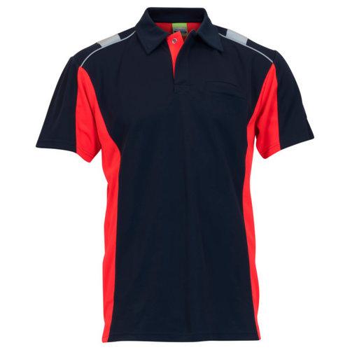 Rescuewear Poloshirt Dynamic korte mouw Marineblauw/Fluorrood