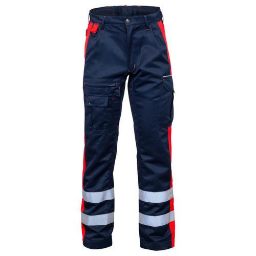 Rescuewear Unisex Broek Dynamic, Marineblauw/Fluorrood