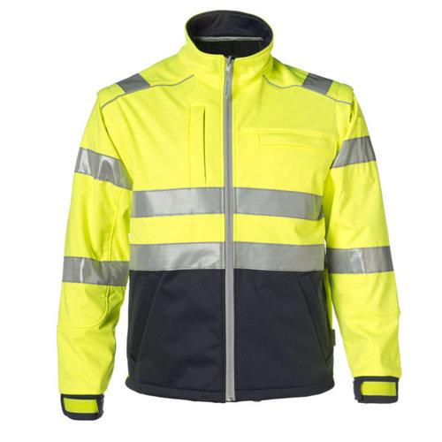Rescuewear Softshell Jas HiVis kl. 3, Zwart/ Fluorgeel