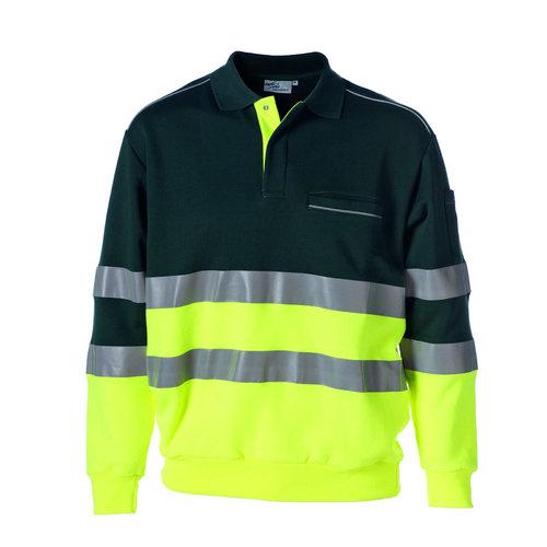 Rescuewear Polosweater Groen / Fluorgeel