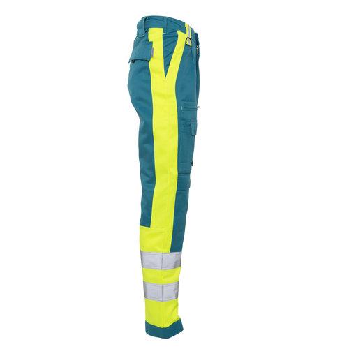 Rescuewear Unisex Broek Dynamic, Enamelblauw/neongeel