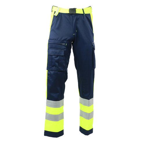 Rescuewear Unisex Broek Dynamic, Marineblauw/neongeel