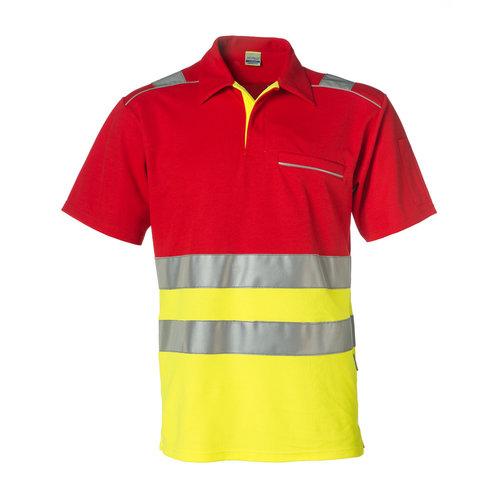 Rescuewear Poloshirt korte mouw, Neongeel/Rood, HiVis, klasse 1