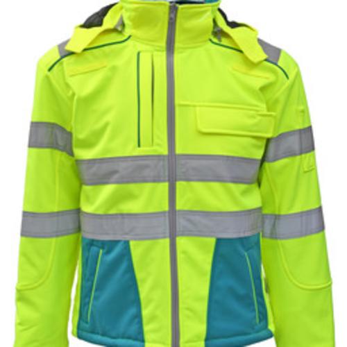 Rescuewear Softshell Dynamic HiVis klasse 3, Enamelblauw/Neon Geel
