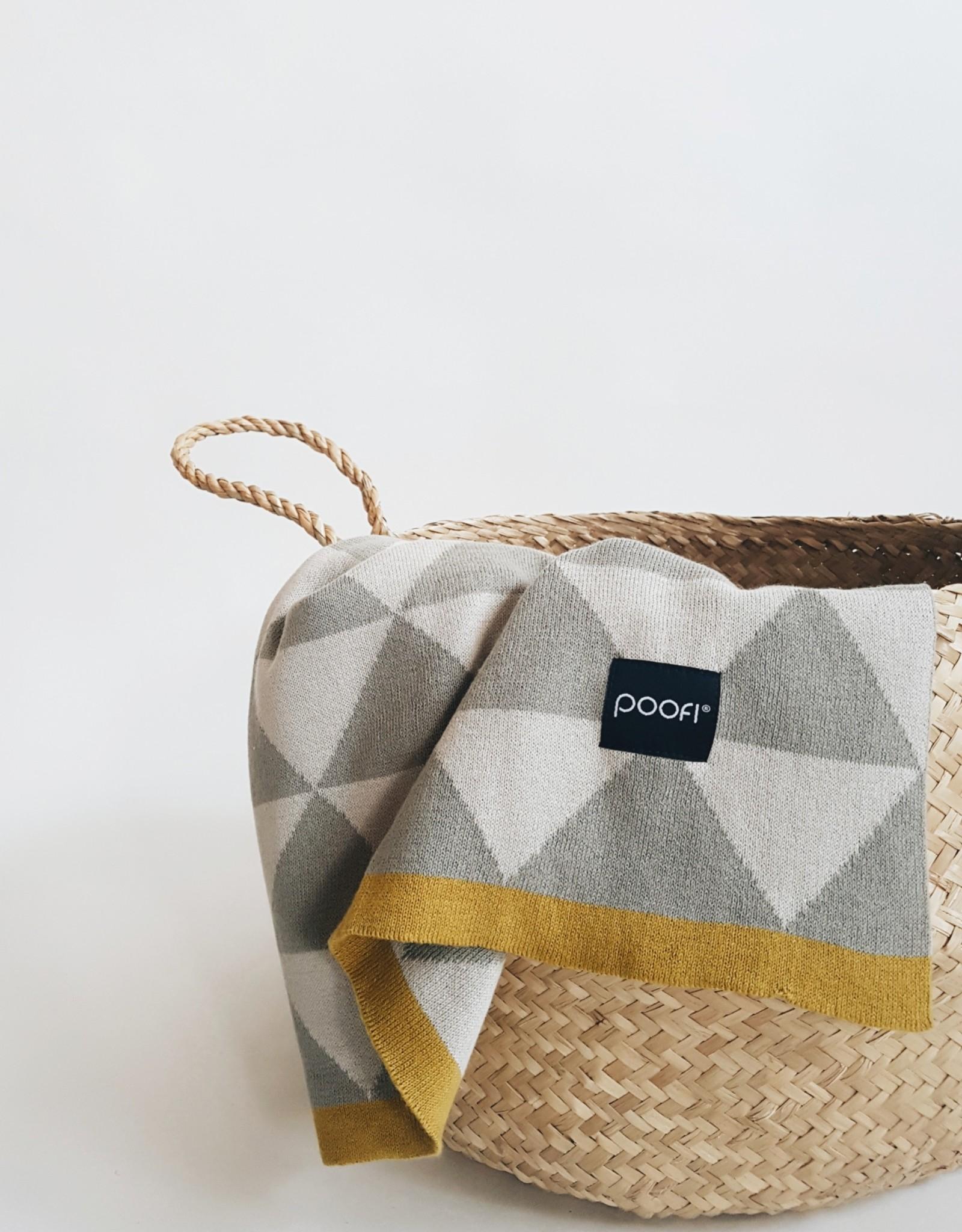 POOFI Dekentje Poofi organisch katoen-grijs/driehoekjes
