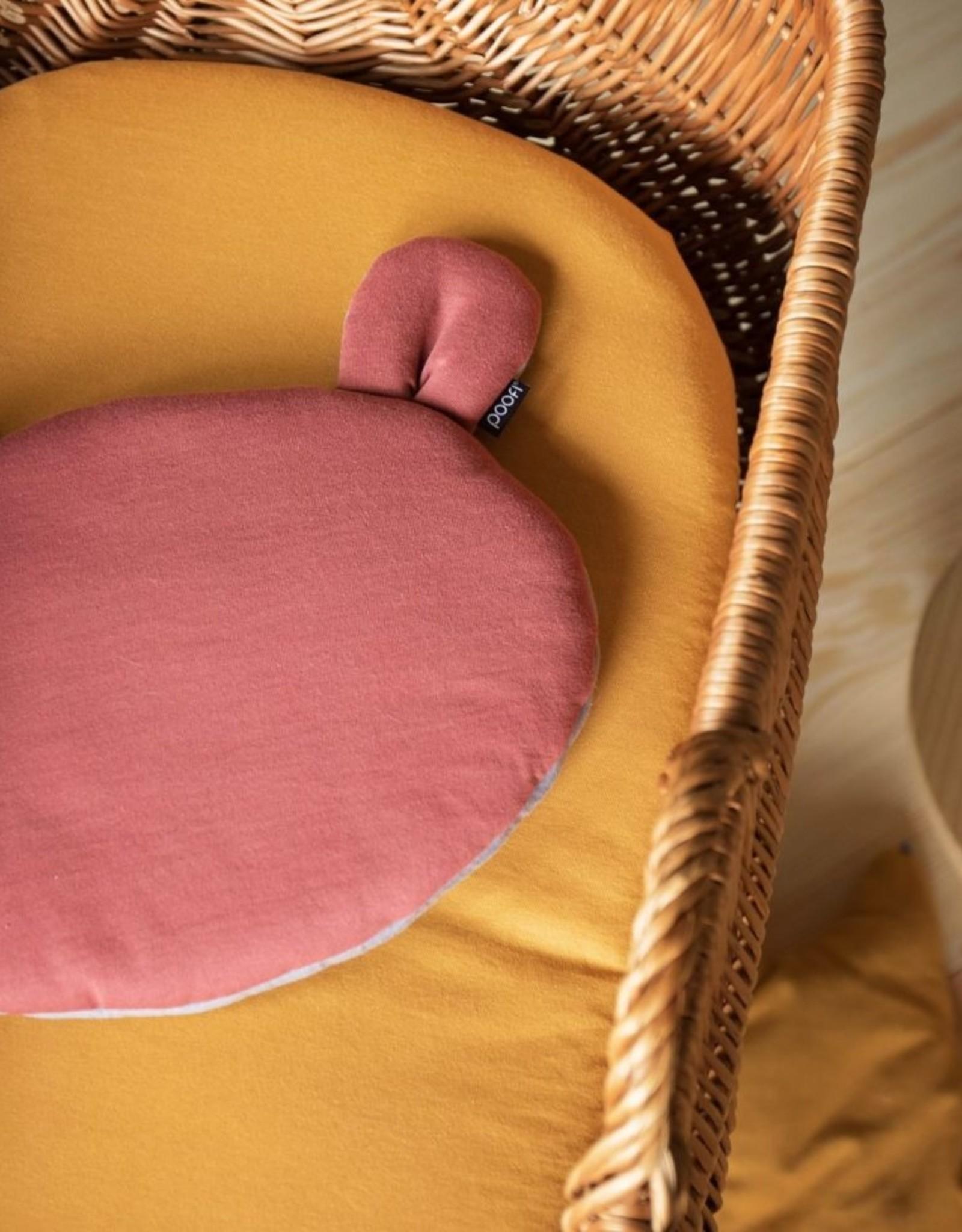 POOFI Poofi - Teddybear cushion - Maroon and grey