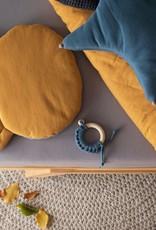 POOFI Poofi - Teddybear cushion - Mustard and grey