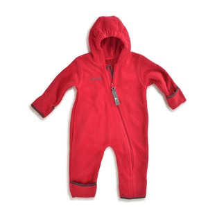 Hoppediz Fleece-overall rood-antraciet