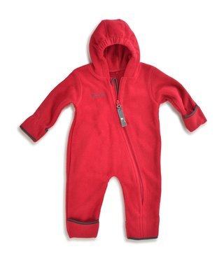 Hoppediz Fleece-overall rood-antraciet