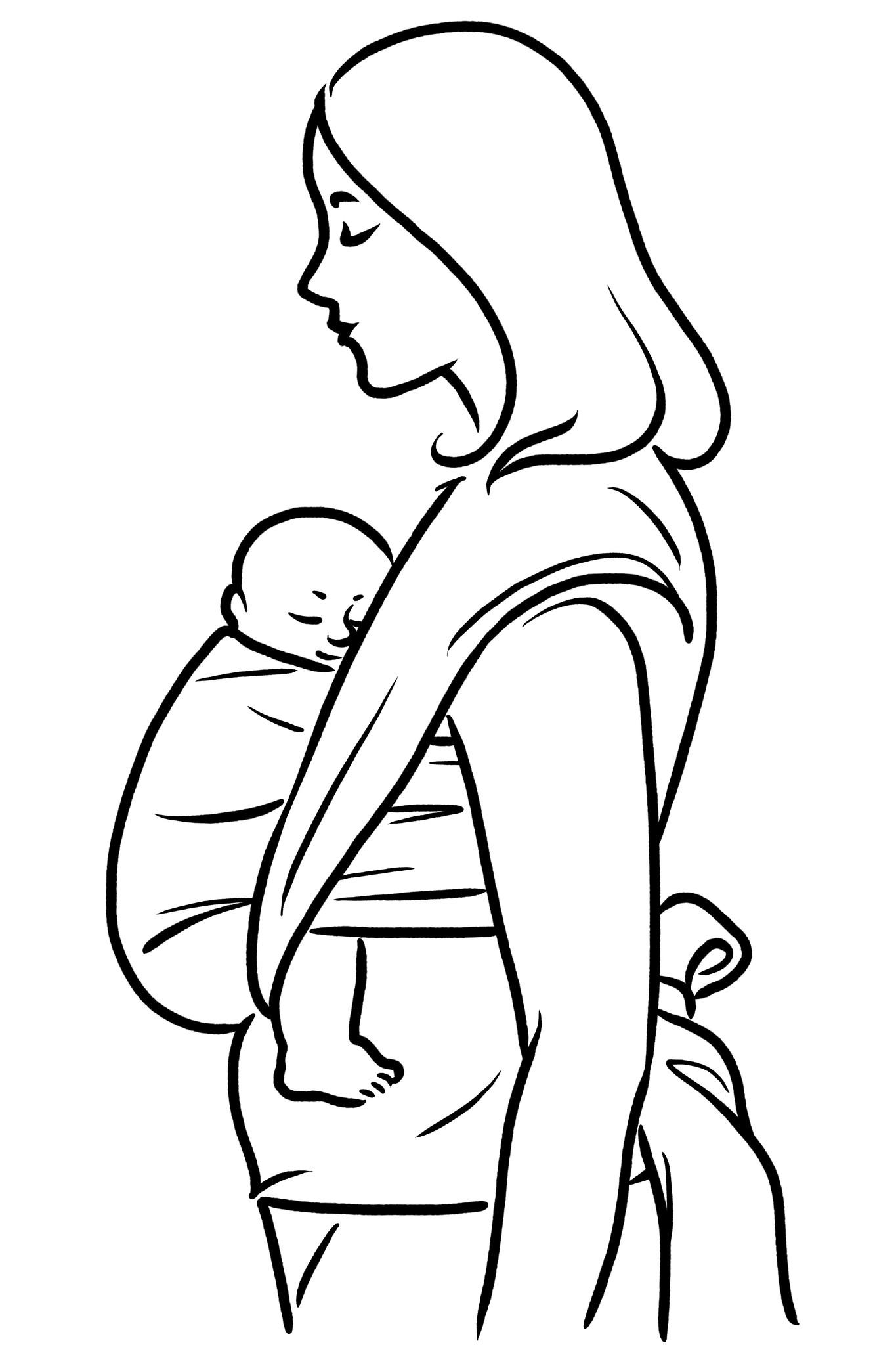 Baby in spreidhurkhouding in de draagdoek