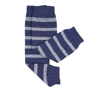 Beenwarmers Merinowol blauw/grijs gestreept