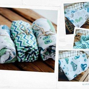 Set bamboe hydrofiele doeken blauw/groen