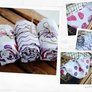 Set bamboe hydrofiele doeken paars/roze