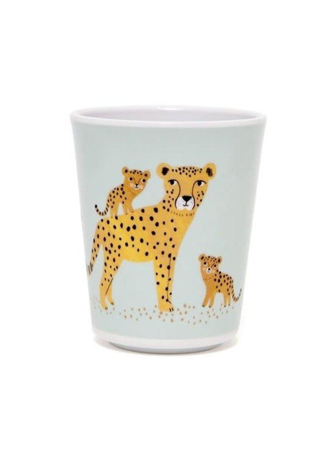 Melamine beker leopard aqua