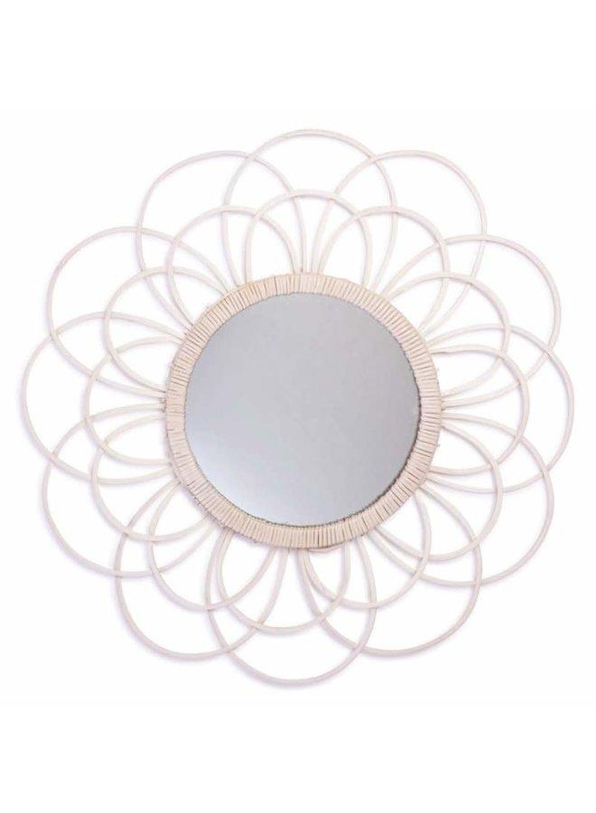 Zoom bamboe spiegel wit