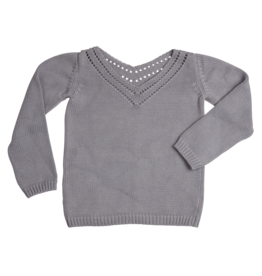 Blossom Kids Jumper knitted Ajour - Misty Grey