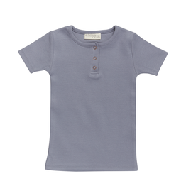 Blossom Kids Short sleeve shirt - soft rib - Blue Grey