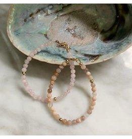 Studio Daz Armbandje Maansteen met gouden bead en sluiting