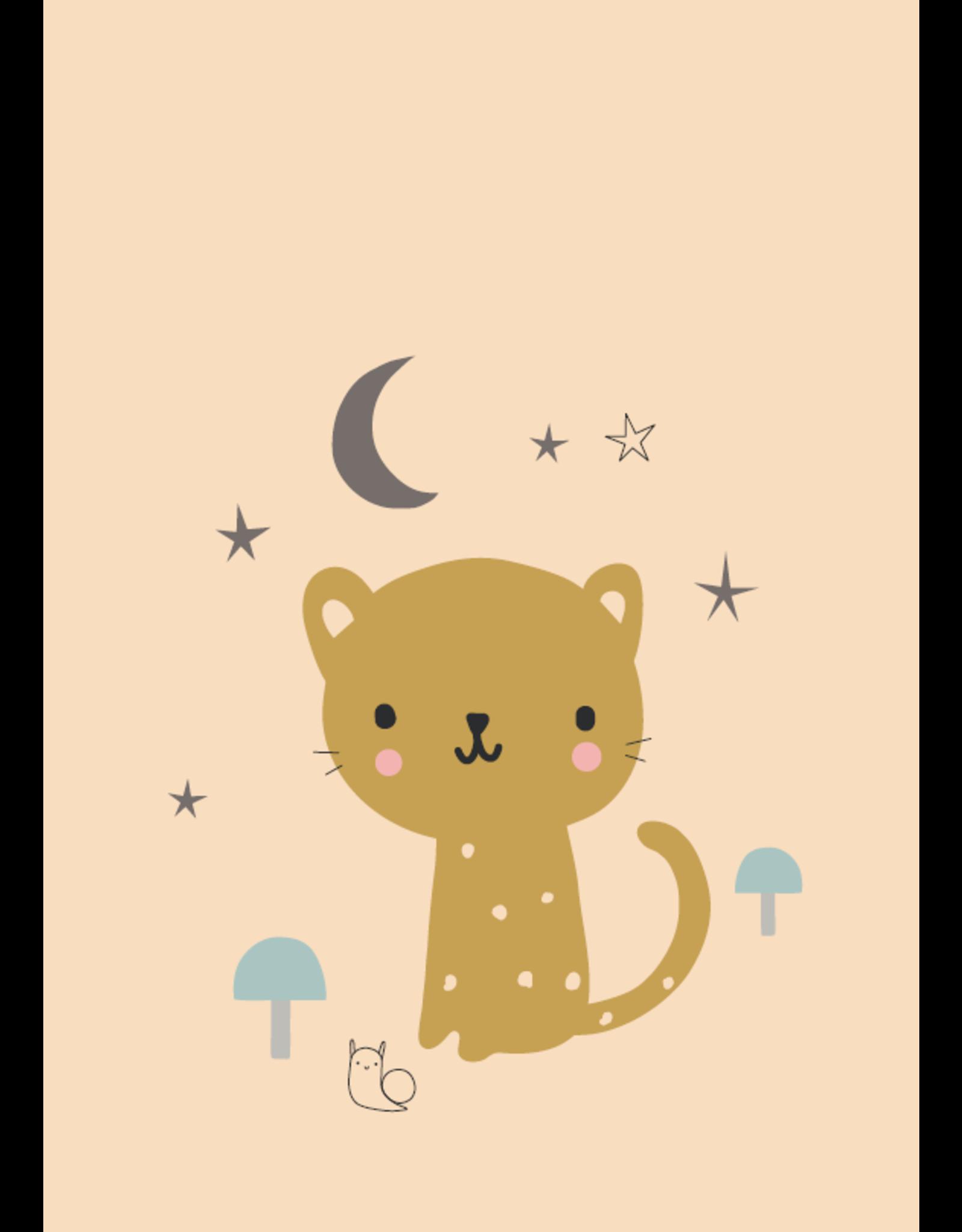 Petit Monkey Wenskaart leopard peach