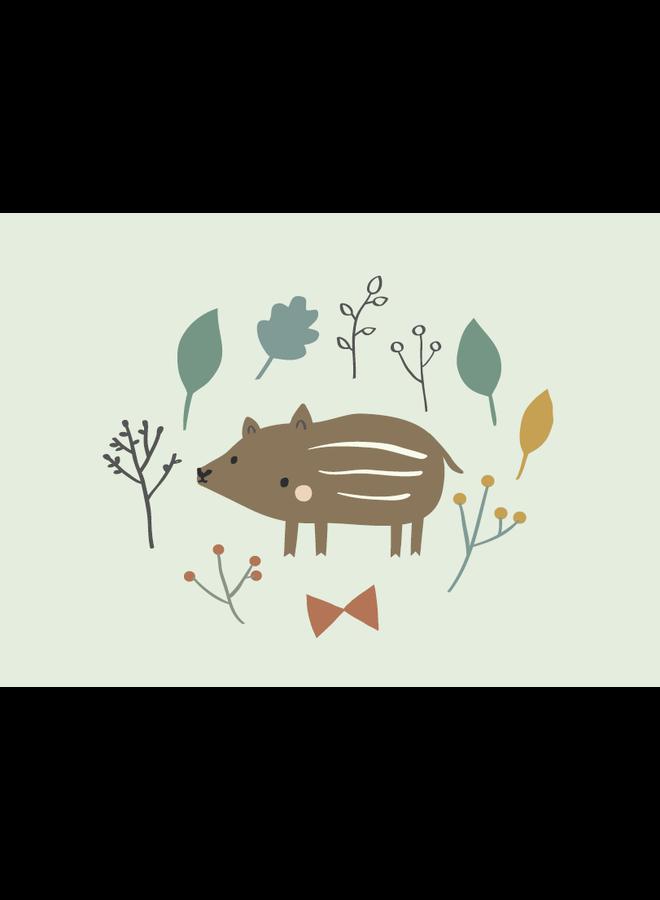 Wenskaart baby boar