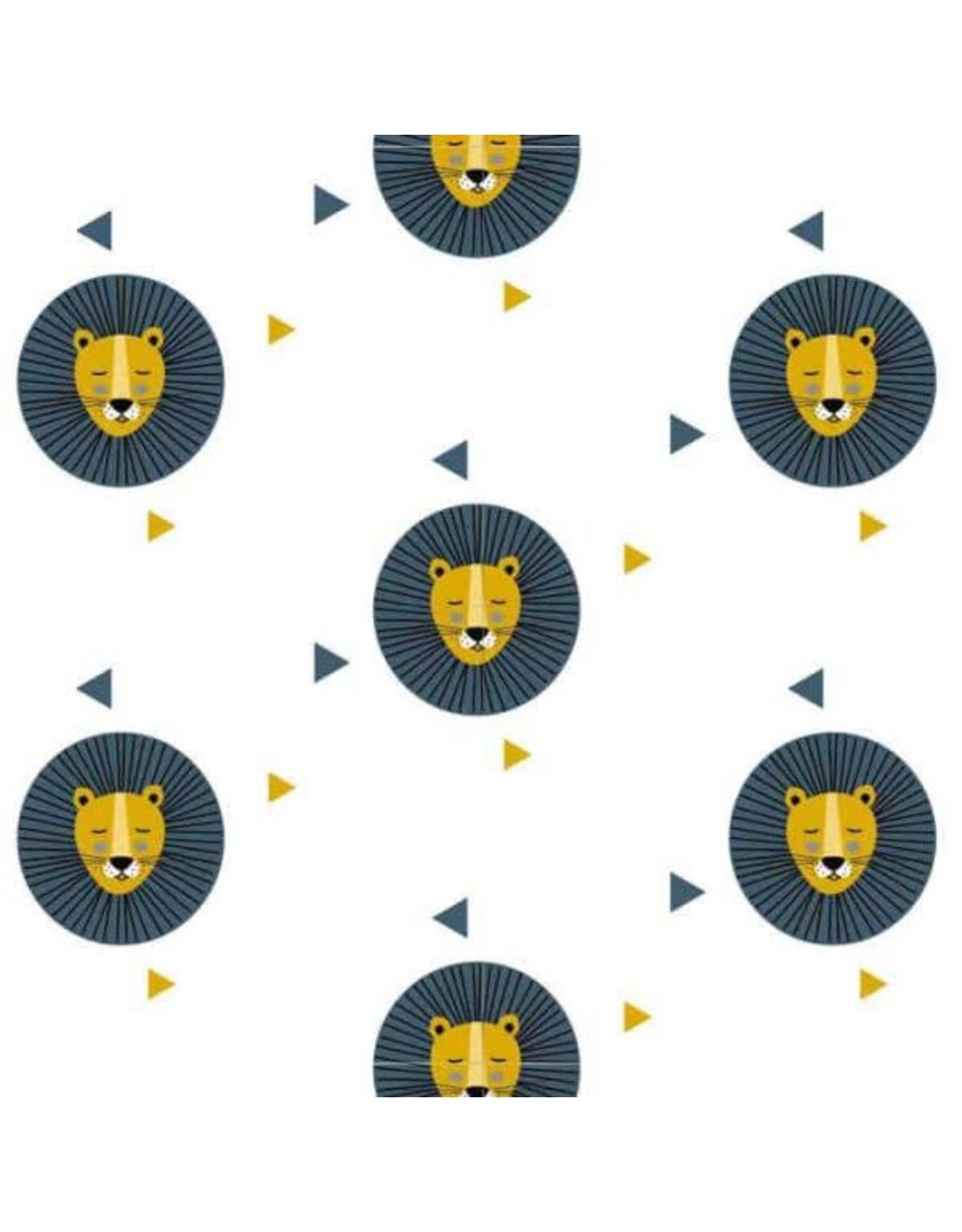 Hip Huisje Behang leeuw okergeel met blauwe print