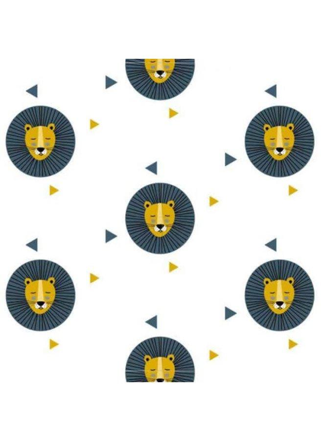 Behang leeuw okergeel met blauwe print