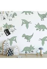 Hip Huisje Dino behang groen