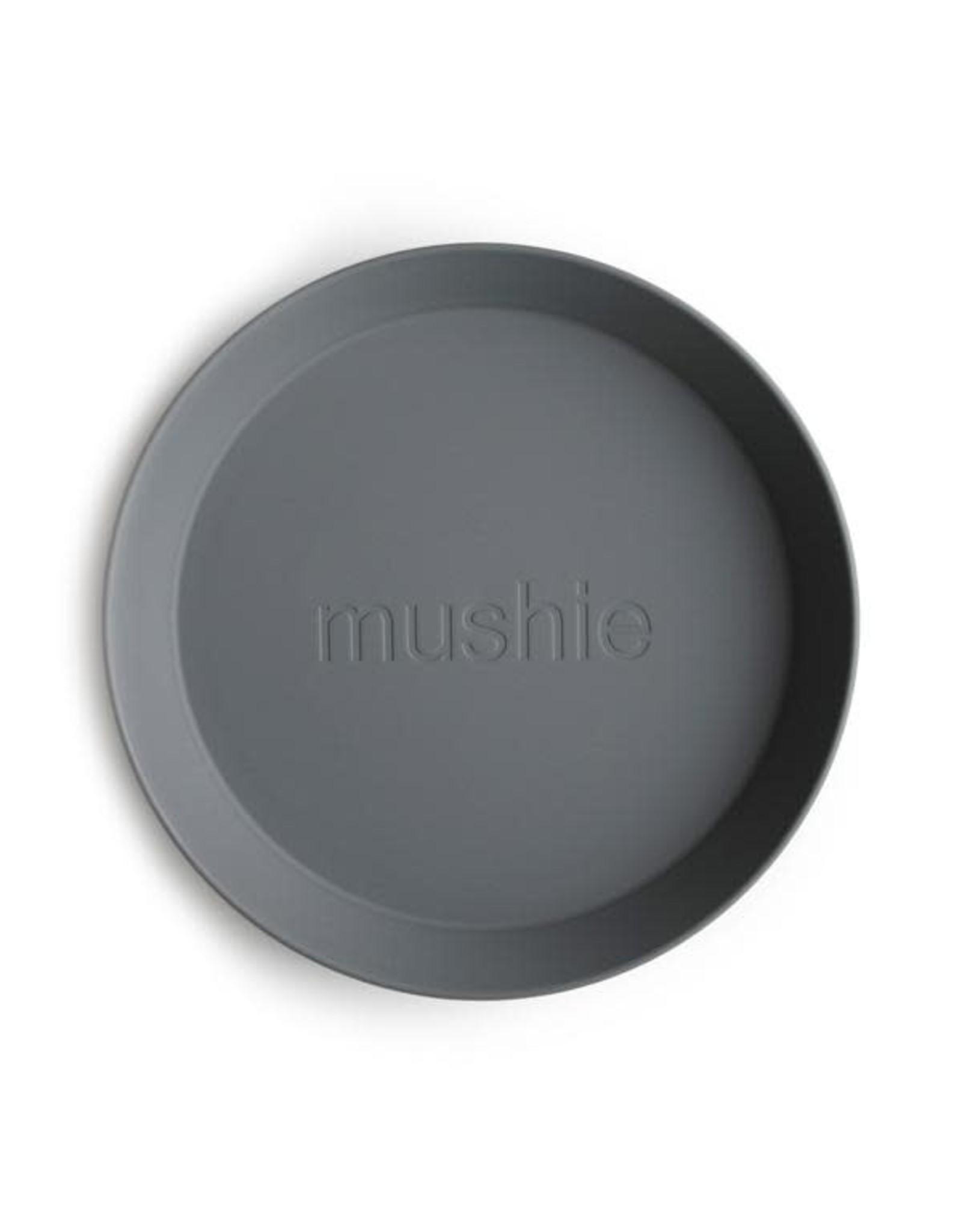 Mushie Mushie Plates Round Smoke