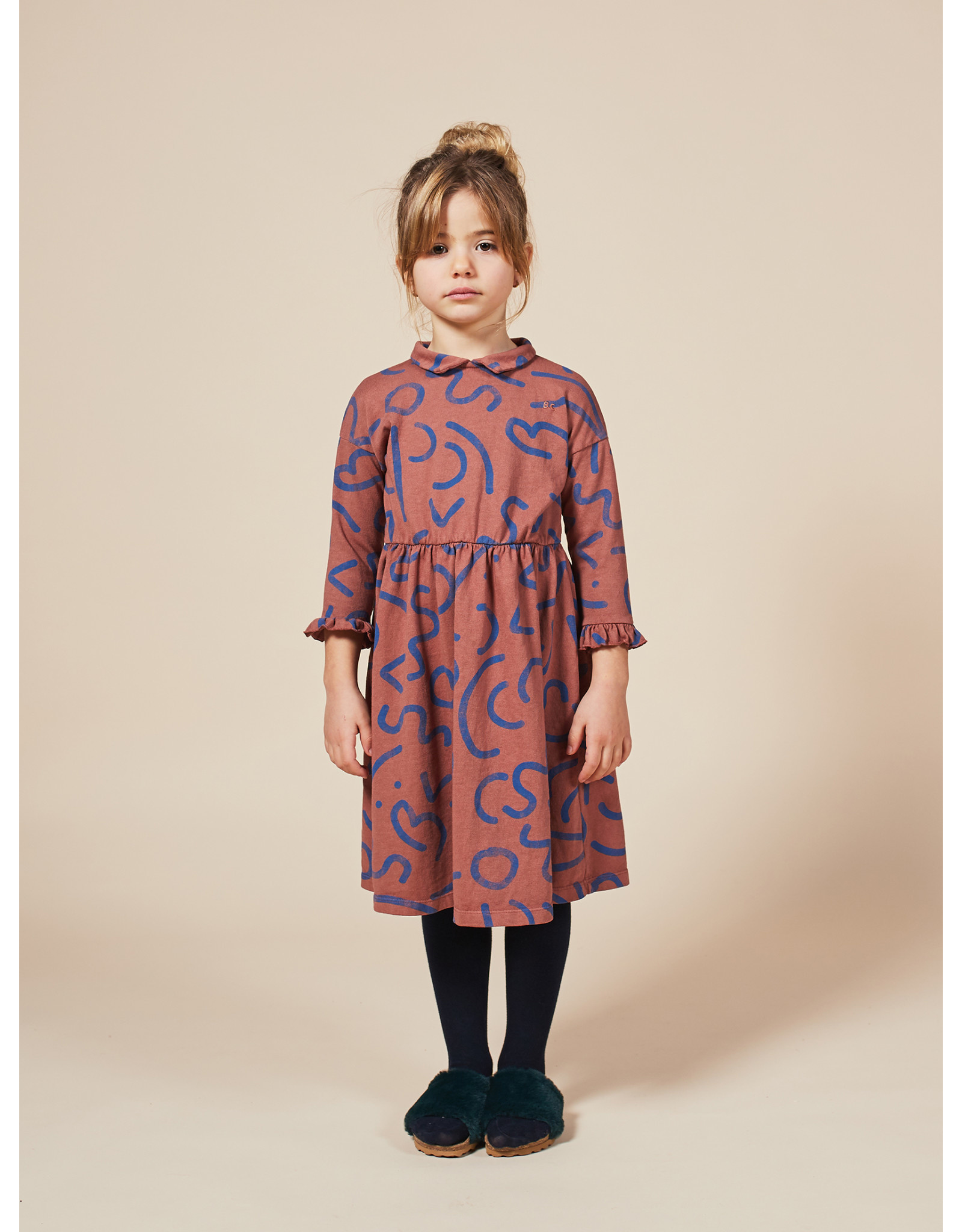 Bobo Choses Curved lines all over dress