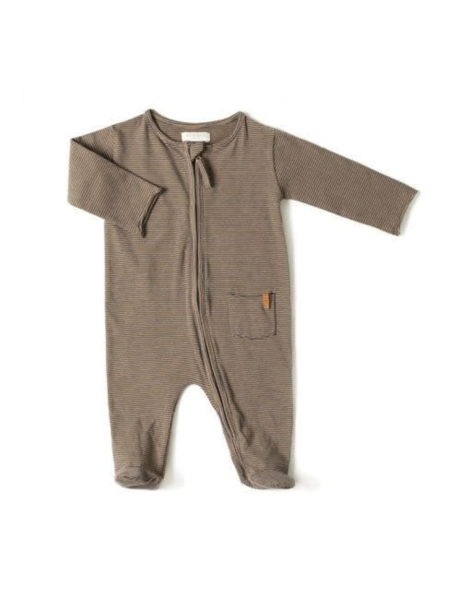 Nixnut Zip onesie Olive stripe