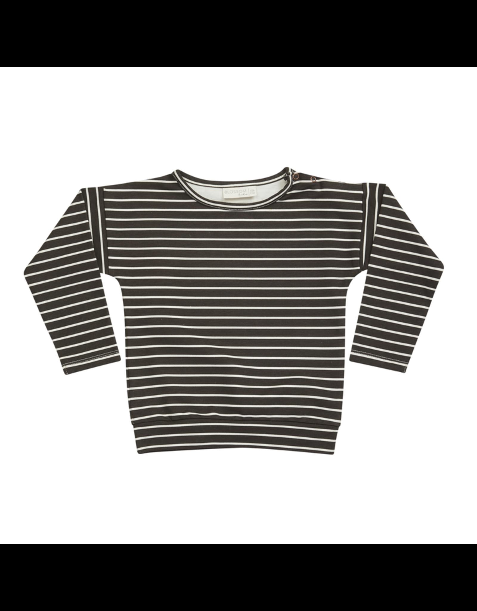 Blossom Kids Long sleeve, Petit Stripes, Espresso Black