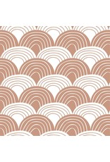 Swedish Linens Swedish Linens hoeslaken Rainbows terracotta pink, 40 x 80 cm