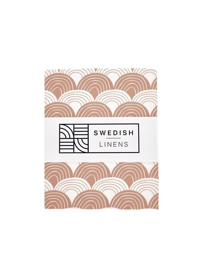 Swedish Linens hoeslaken Rainbows terracotta pink, 40 x 80 cm