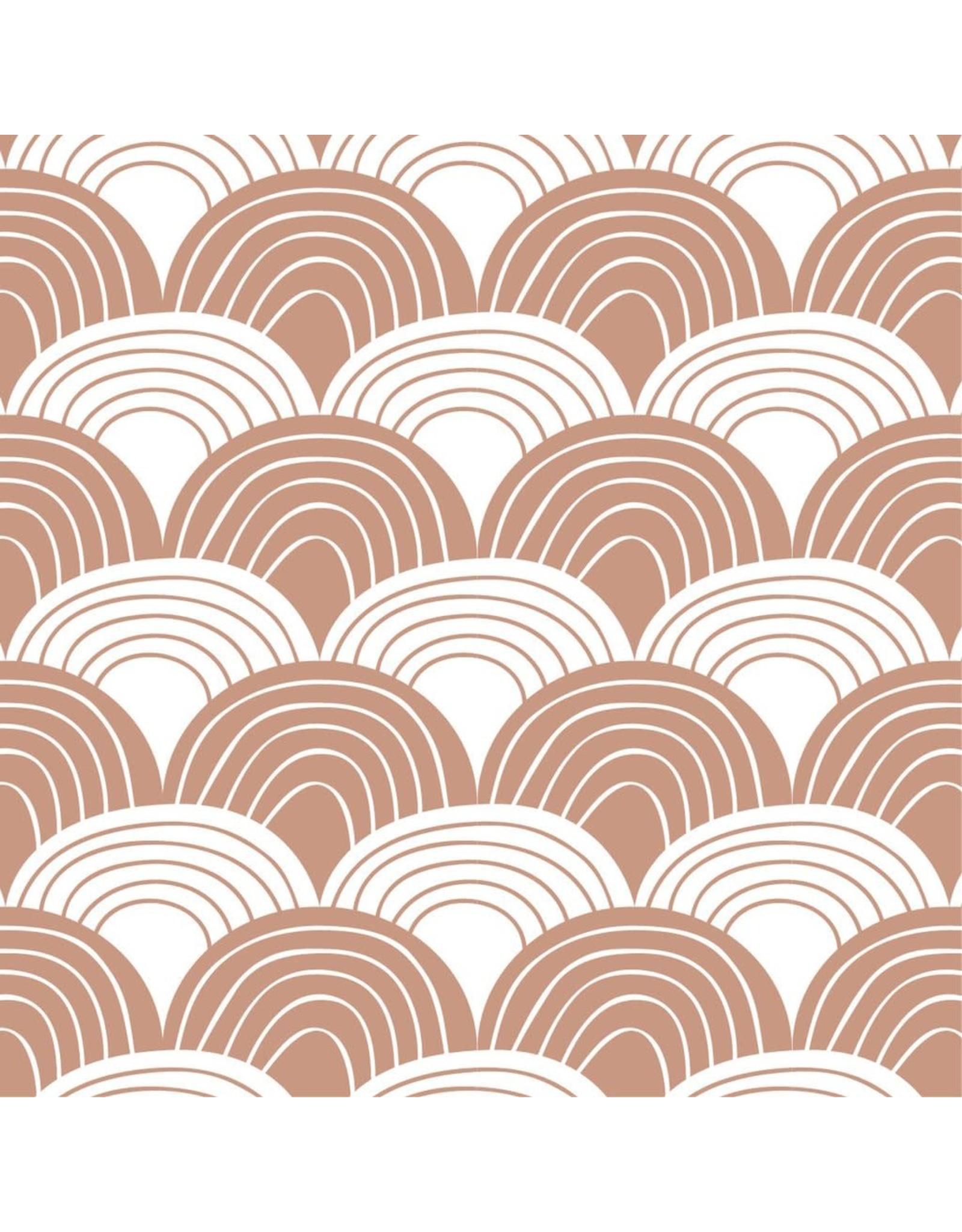 Swedish Linens Swedish Linens hoeslaken Rainbows terracotta pink, 70 x 140 cm