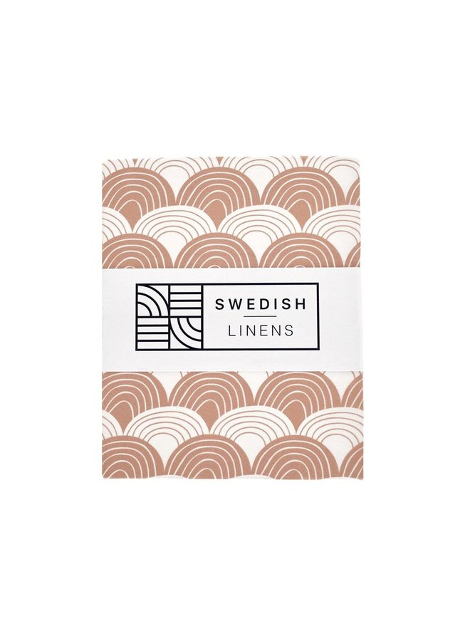 Swedish Linens hoeslaken Rainbows terracotta pink, 70 x 140 cm