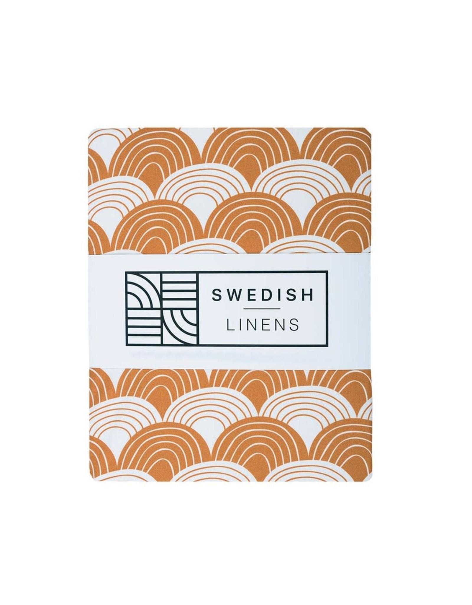 Swedish Linens Swedish Linens hoeslaken Rainbows cinnamon, 40 x 80 cm