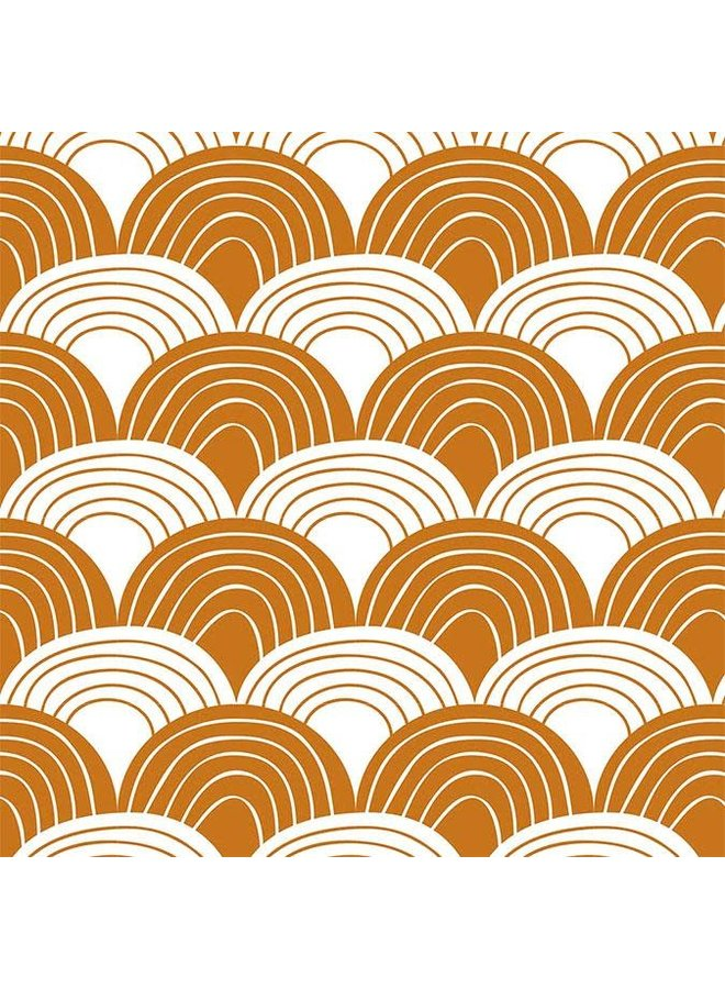 Swedish Linens hoeslaken Rainbows cinnamon brown, 70 x 160 cm