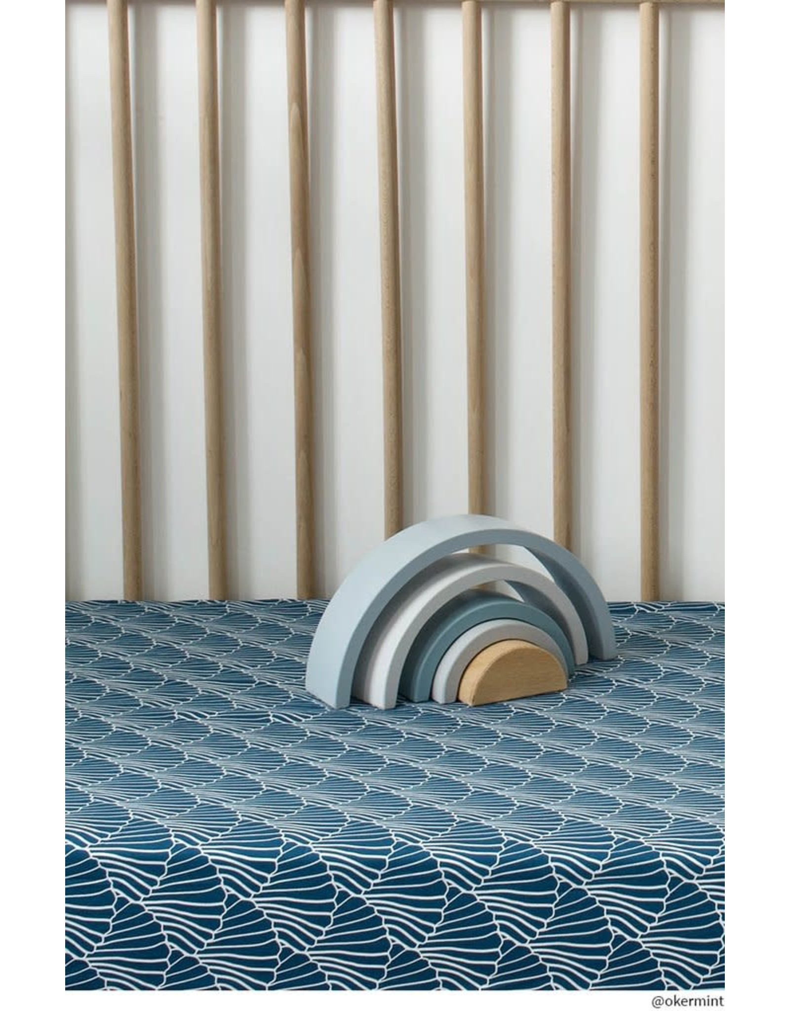 Swedish Linens Swedish Linens hoeslaken Seashells Maroccan Blue, 60 x 120 cm