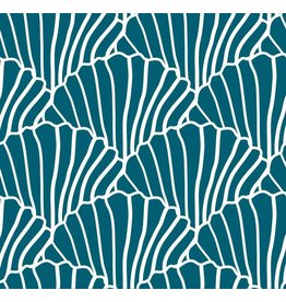 Swedish Linens Swedish Linens hoeslaken Seashells Maroccan Blue, 90 x 200 cm