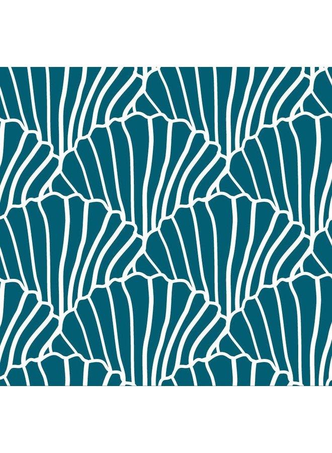 Swedish Linens hoeslaken Seashells Maroccan Blue, 90 x 200 cm