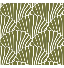 Swedish Linens Swedish Linens hoeslaken Seashells Olive green, 90 x 200 cm